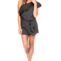 Charcoal One Shoulder Flutter Flounce Top