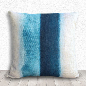 Watercolor Pillow Cover, Decorative Throw Pillows, Pillow Covers, Pillow Cases, Linen Pillow Cover, 18x18 - Blue Watercolor - 320