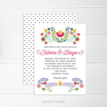 Mexican Fiesta Wedding Invitation | Mexican Theme, Fiesta Theme | Julieta