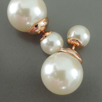 Ear Jackets - Pearl Earrings - Double Sided Earrings - Stud Earrings - Statement Earrings - Post Earrings