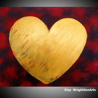 """ARTFINDER: painting abstract wall art """"Heart of Gold"""" gold painting contemporary modern art abstraction expression acrylic  18 x 24 by Stuart Wright - Rustic abstract painting, hand made original ar..."""