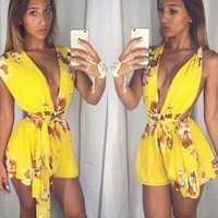 Yellow Floral Print Deep V-Neck Bow Waist Rompers