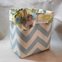 Lovely Blue and Cream Chevron Fabric Basket With Detachable Flower Pin