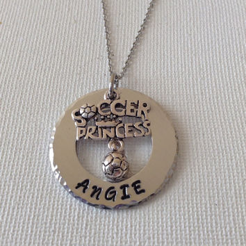 Little girls soccer necklace, soccer princess, soccer lovers, handstamped and personalized, soccer players
