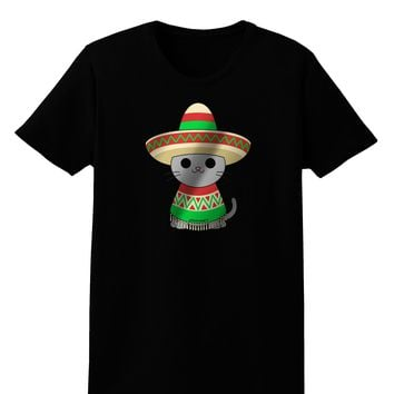 Sombrero and Poncho Cat - Metallic Womens Dark T-Shirt by TooLoud