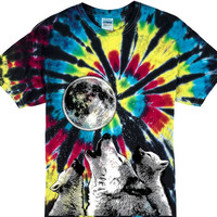 Yoga Clothing for You Mens 3 Wolf Moon Tie Dye T-shirt - Black Rainbow