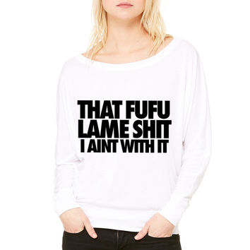 Thank You Based God WOMEN'S FLOWY LONG SLEEVE OFF SHOULDER TEE