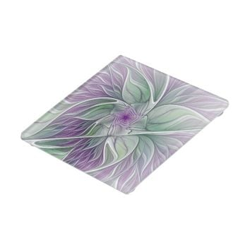 Flower Dream, Abstract Purple Green Fractal Art Glass Coaster