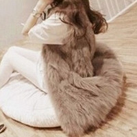 2014 Autumn Winter Faux Fur Vest Colete De Pele Falso Winter Jacket Casacos Femininos Womens Coat Plus Size = 1931445636