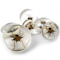"Spider Inlay Resin Bug Plugs (5/8"" - 15/16"") Gauge 