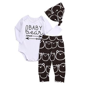 Newborn Baby Girls Boys Tops baby Romper +Long Pants Hat 3Pcs Outfits Clothes YL drop shipping