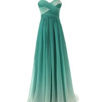 JAEDEN Women's Gradient Chiffon Long Formal Evening Dress Prom Gown Green US14