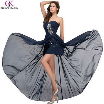 Grace Karin Evening Dress Short Front Long Back Dress Strapless Chiffon High Low Side Split Formal Gowns Navy Blue Party Dresses