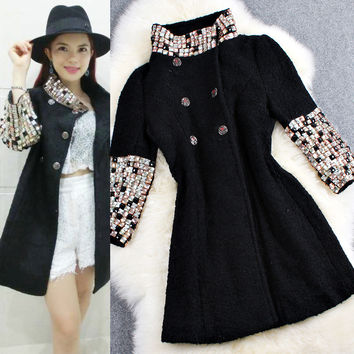 Beaded Collar Sleeves Double Breasted Woolen Coat
