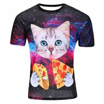 Personalized Space Cat Printing T-shirt