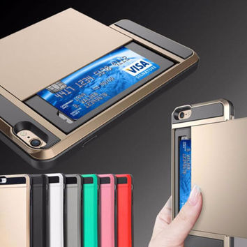 Fashion Armor Phone Case For iphone 7 Card Slider With Card Money Storage Armor Cover Free Shipping