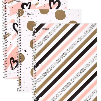 "Mead Sprial Notebooks, 1 Subject, College Ruled, 10-1/2"" x 7-1/2"", Shape It Up, Assorted Designs, 3 Pack (73819)"
