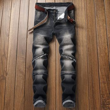 Slim Skinny Pants Simple Design Strong Character Ruffle Stretch Ripped Holes Jeans [3444982153309]