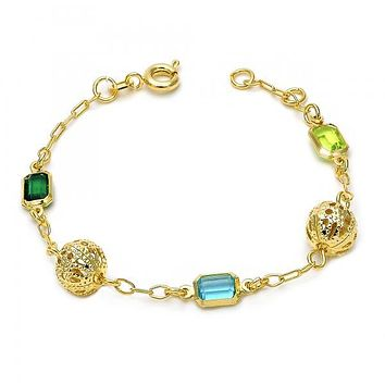 Gold Layered 03.02.0045.06 Fancy Bracelet, with Multicolor Crystal, Polished Finish, Gold Tone