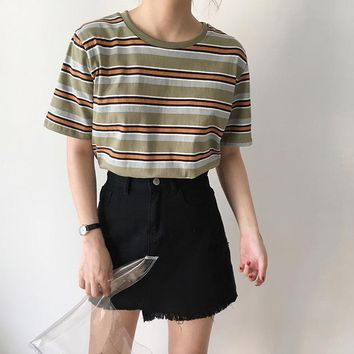 Harajuku Women T shirt Ulzzang Tops Tee Female Fashion Summer Casual Striped Preppy Tshirt Kawaii T-shirt Dropshipping HT499