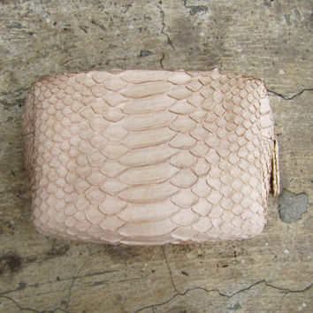 BASIC - Cream Nude Python Snakeskin Leather Make Up Pouch