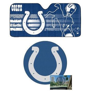 Licensed Official NFL Indianapolis Colts Car Truck Windshield Folding SunShade & Perforated Decal