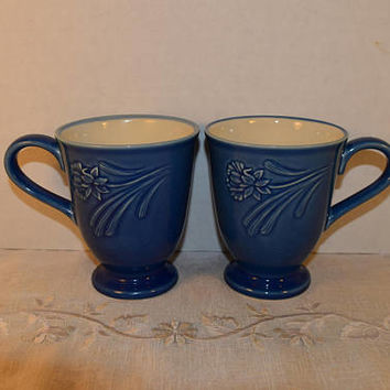 Lenox Poppies Rainbow Blue Mugs Vintage Blue Floral Embossed Coffee Mugs Set of 2 Tall Hot Cocoa Cup Gift for Her Lenox Collectible Mug