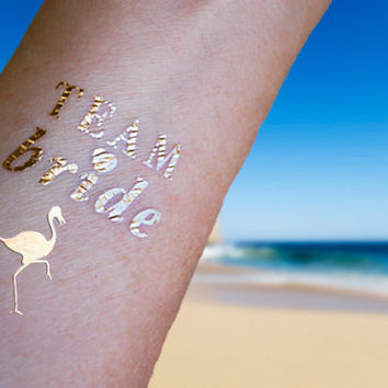 Bachelorette Tattoos, Fake Tattoo, Team Bride, Bachelorette Party Favors, Gold Temporary Tattoos, Metallic Gold Tattoos