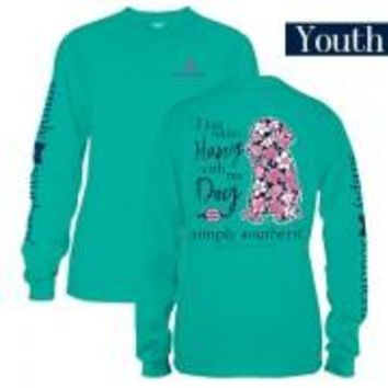 "*Closeout* Youth Simply Southern Long Sleeve - ""Preppy Dog"""