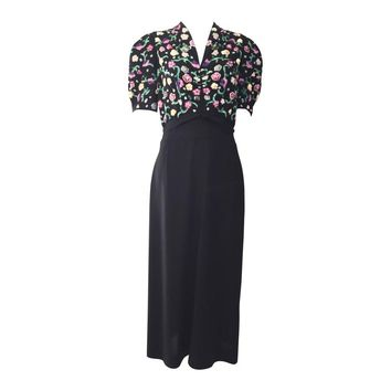 1940s Black crepe dress with multi color floral sequins
