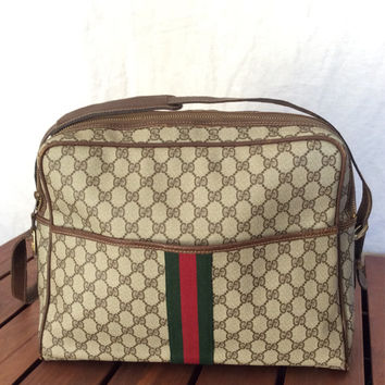 Rare Vintage Authentic Brown Large Gucci Signature Leather and Canvas Briefcase Messenger Travel Bag Carry on with Green and Red stripes