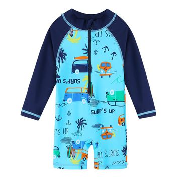 BAOHULU UPF50+ Baby Toddler Boy Swimsuit Cartoon Long Sleeve Children Swimwear One Piece Rash Guards for Kids Bathing Suits