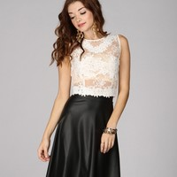 Promo-white Lacey Grace Crop Top