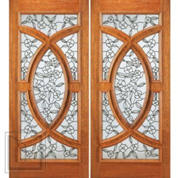 Front Double Door Mahogany Radius Lite, Insulated Tempered Glass
