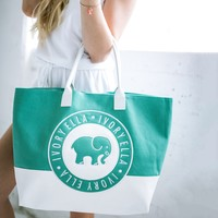 Green & White Beach Tote