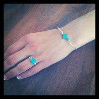 Turquoise stone cross silver plated bangle by miskwill on Etsy