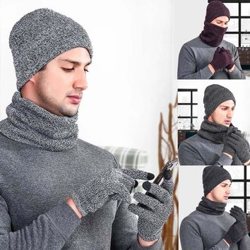 2018 Casual  Unisex Men Women Warm Crochet Winter Wool Cotton Knit Gloves Bib And  Hat Three-Piece Suit