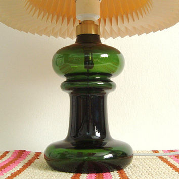 Holmegaard table lamp by Michael Bang , dark green glass, Mid Century Modern Danish lighting, Scandinavian home, hygge home decor, vintage