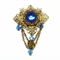 Victorian Filigree Brooch - Bohemian Style - Boho European Pin with Chains and Blue Rhinestones