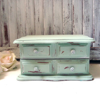 Mint Sage Green Vintage Jewelry Box, Small Distressed Wooden Jewelry Holder, Cottage Chic Jewelry Chest, Ring Storage Box, Gift Ideas