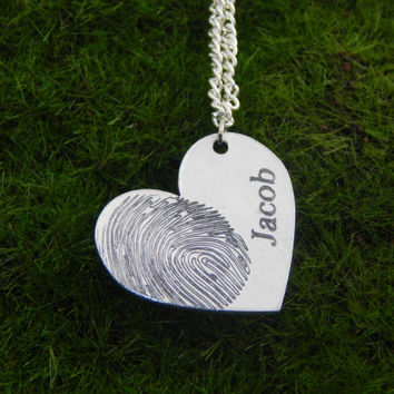 Custom Personalized Fingerprint Heart Shaped Pendant Necklace