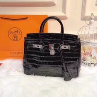 Hermes crocodile pattern handbag shoulder bag