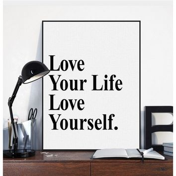 Black White Minimalist Motivational Typography Love Life Quotes Art Print Poster Living Room Wall Decor Picture Canvas Painting