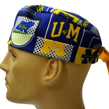 Men's Adjustable Cuffed or Un-Cuffed Surgical Scrub Hat Cap in Michigan Wolverines Patchwork