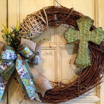 Grapevine Burlap Wreath With Cross and Floral Print Bow, cross wreath, burlap wreath, Easter wreath, floral wreath, spring wreath, cross