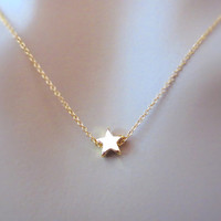 Shiny gold star necklace, petit lovely star necklace, minima jewelry, gold star necklace, small dainty jewelry, gift for her, christmas gift