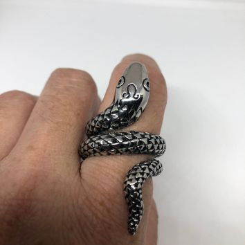 Vintage 1980's Gothic Stainless Steel Snake Men's Ring