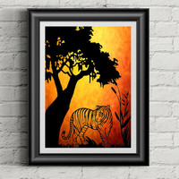 Tiger Papercut, Tiger Art, HandCut PaperCut, Tiger Decor, Silhouette Pictures, Animal Nursery, Animal Art, Tiger Artwork, Sunset Art