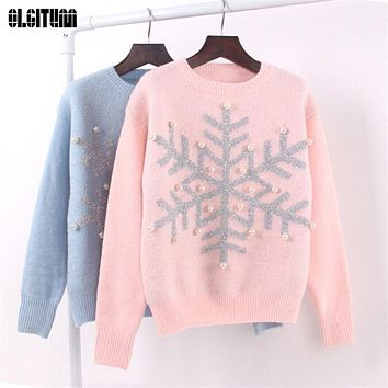 Sweaters Female Knitted Pullover Snowflake Sweaters Teenage Girl Sweater Basic Sequins Long Sleeve SW286