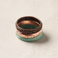 Floral Etched Ring Trio - Anthropologie.com